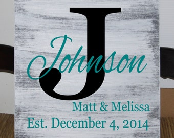 Monogram family name sign with first names and established date - 12 x 12