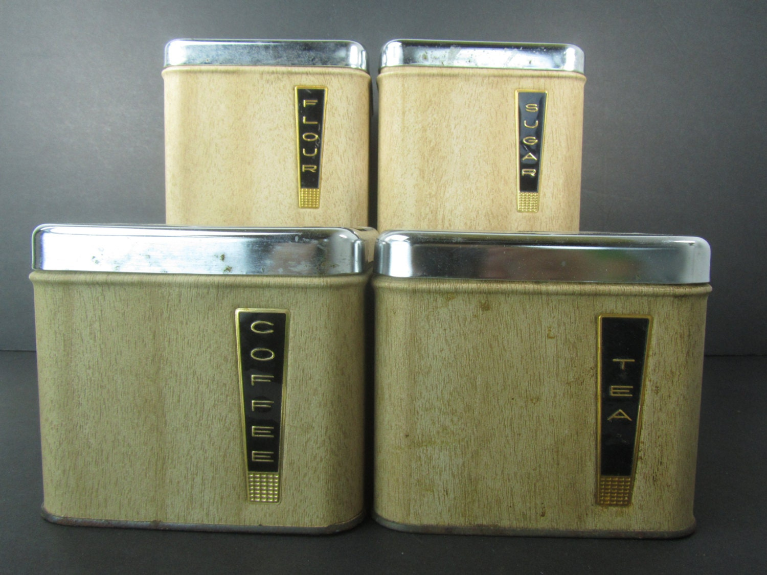 Retro Canisters Metal Canister Storage Kitchen Canisters Modern Kitchen Mid Century