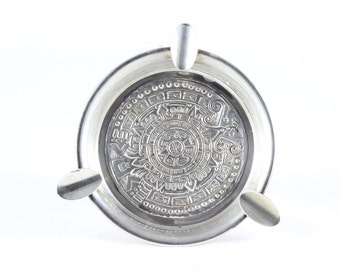 Sterling Silver Ashtray Mayan Aztec Sun Calendar Ashtray