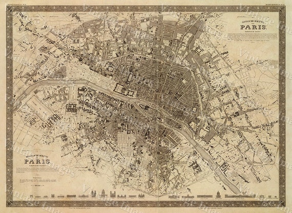 Old Map Vintage Paris City Plan, Map of Paris 1860 French style Paris map, Paris Street map Large Old Paris map Print Map Decor