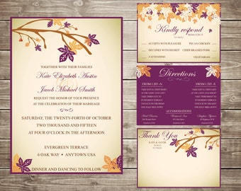 Custom Printable Fall Leaf Wedding Suite Package