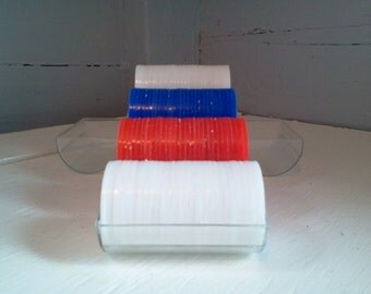 Vintage Plastic Poker Chips, Red, White and Blue
