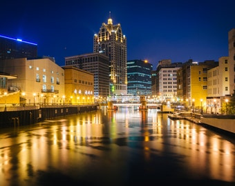 Buildings along the Milwaukee River at night, in Milwaukee, Wisconsin - Photography Fine Art Print or Wrapped Canvas