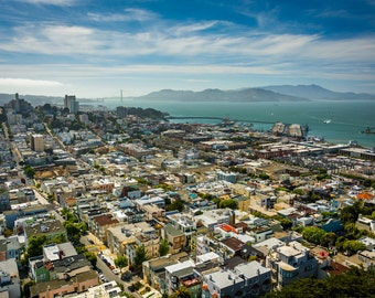 View of North Beach and the San Francisco Bay from Coit Tower, in San Francisco, California - Photography Fine Art Print or Wrapped Canvas