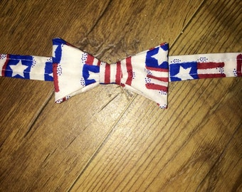 Summer/ 4th of July/Patriotic Print/ Flag/All American Boy/Red, White and Blue -  Bow Tie Perfect for pictures!