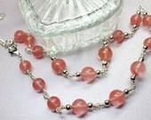 Cherry Quartz Necklace, Pink Gemstone Choker, Energy Stone, Wire Wrapped Quartz Gemstones