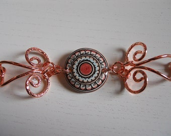 Mandala/Handcrafted Ceramic Jewelry ceramic and wrought copper Bracelet//