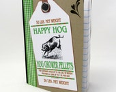 Happy Hog Mini Journal - Mini Notebook - Rustic Style - Green and White - Gingham Ribbon - Little Notebook - Pig Notebook - Farm Label