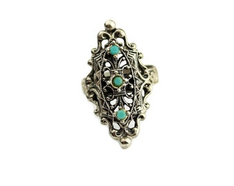 Silver Tone Faux Turquoise Ring Adjustable Band