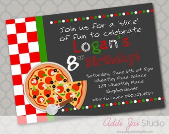 Pizza Party birthday printable 5x7, 4x6 or 4x5.5 party invitation