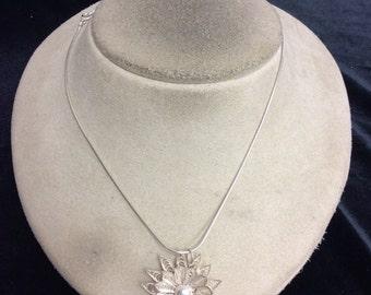 Vintage Sterling Silver Floral Pendant Necklace