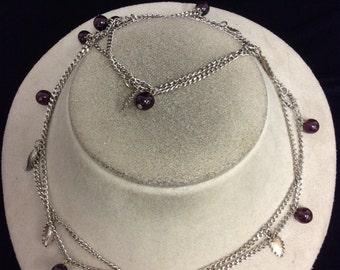 Vintage Purple Glass Leaf Necklace