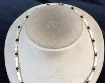 Vintage Black & White Glass Beaded Necklace