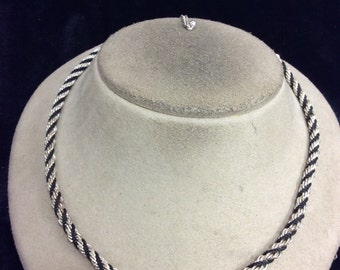 Vintage Silvertone & Black Rope Chain Necklace