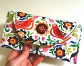 SALE - La Paloma Wallet // Folklorico Wipe Clean Wallet // Birds Laminated cotton Purse // Fold-up Wallet