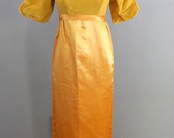 Vintage 1960's gold empire waist dress in satin and velvet