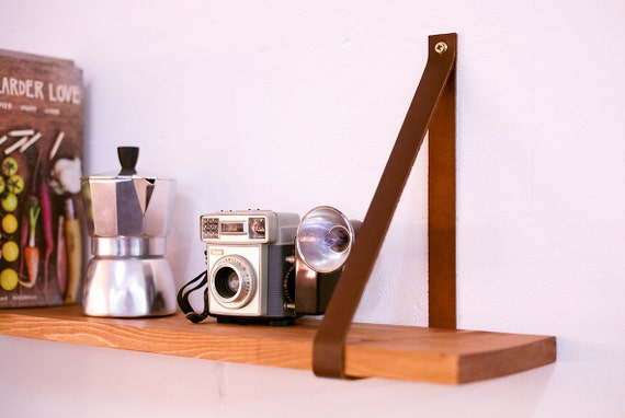 leather hanging shelf straps. Black Bedroom Furniture Sets. Home Design Ideas