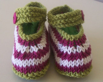 Knitting Pattern for Stripe Baby Shoes