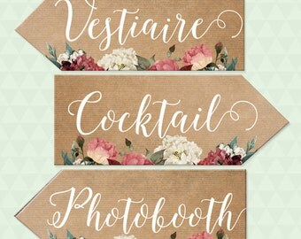 Wedding signs, flowers and kraft