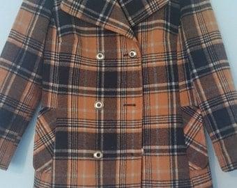 Plaid pea coat, navy and orange - 1960s/70s