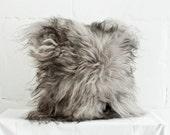 "Genuine Icelandic Sheepskin Decorative Gray Cushion / 16"" x 16"" Pillow / Throw Pillowcase Grey / Shaggy Sheepskin / Luxury Fur Decor"