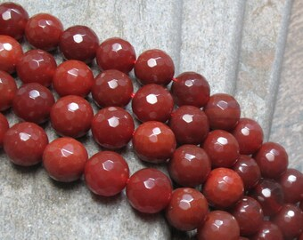 12 mm Faceted Carnelian Beads, full strand - Item B0076