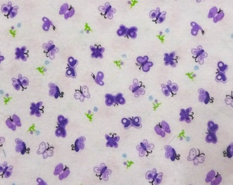 Mini Butterflies Purple Flannel Cotton Fabric By The Full Yard 5530