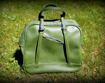 Vintage SUITCASE Luggage by American Tourister Tiara, 1960's 60s, Valise, Train Travel Case Bag, Avocado Green with built in Umbrella holder