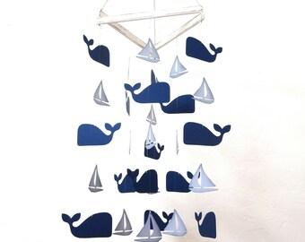 Handmade Whale Mobile, Nautical Nursery, Sail Boat, Whale Baby, Baby Shower, Nursery