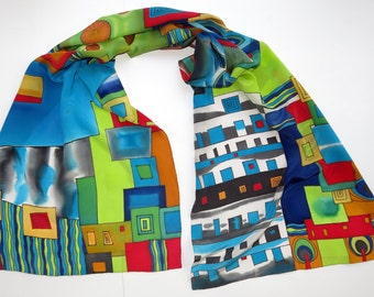 scarf on Hundertwasser motives. Hand painted silk scarf in red, green, blue painted silk. Batik scarf silk painting.