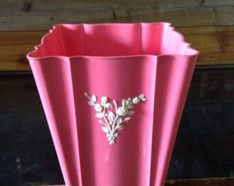 Vintage Trash Can Plastic Bright Pink Schiaparelli Pink Square Trash Can with White Floral Applique No. 7
