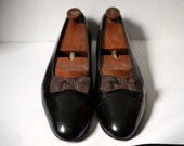 Vintage BROOKS BROS Black Patent Leather Opera Pumps Formal Grosgrain Bow Size 45C Appx US Size 11/11.5 Includes Shoe Trees!