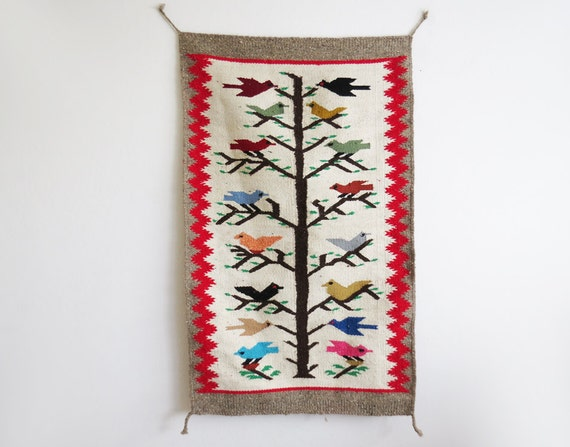 Woven Bird Rug // Southwest Wall Hang Or Rug // Vintage Home