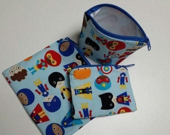 Reusable Sandwich Bag Set, Super Hero Kids,Snack Bags,Washable,Baggies,Nylon Lining, Zipper Closure, Gadget Bags, Small Toy Bags.