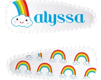 Kids Hair Clips, Personalized Barrette Set, Rainbow Barrettes, Custom Hair Clips, Custom Rainbow Hair Clips, Baby Barrettes