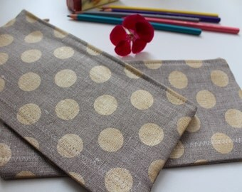 Gold Polka Dots Linen Pencil Case - Cosmetic Bag - Choose the Size - 2 Sizes Available