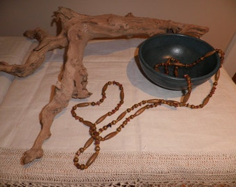 Summer Sale!  Extremely long wooden and plastic necklace