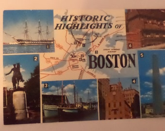 1970's Historic Highlights Of Boston Mass Postcard Free Shipping