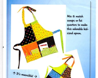 Kids Sewing Craft Apron Kid's Fat Quarter Reversible Apron Pacific Crescent Quilting #110 by Nancy Gallivan NEW