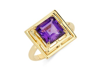 14K Gold Square Amethyst Ring, Amethyst Ring, Gold Ring, Fancy Ring, Fancy Jewelry, Amethyst Jewelry, Gold Jewelry, Amethyst