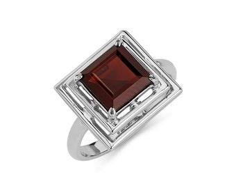 14K Gold Square Garnet Ring, Garnet Ring, Gold Ring, Fancy Ring, Fancy Jewelry, Garnet Jewelry, Gold Jewelry, Garnet