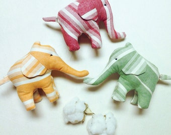 Organic Baby Toy Elephant Harvest stripes