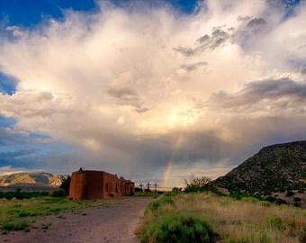 Penitente Morada Abiquiu New Mexico Landscape Photography New Mexico Churches Monsoon Clouds Fine Art Print Rainbow Photography Print