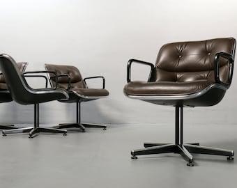 Executive Chair, Knoll International, Charles Pollock , 70s Mid Century leather