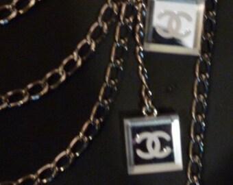 1990 Hip Hop Chanel Sweater Jean Guard Mirrors Multi-strand Silver