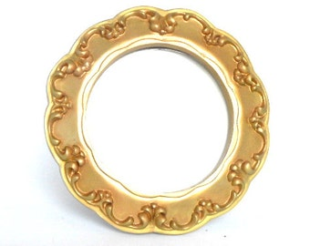 """7"""",Round Gold Photo Frame,Decorative Photo Frame,Round Picture Frame,Holds 4.25x4.25 Photo,Ornate Picture Frame,Gold Frame Photo Frame"""