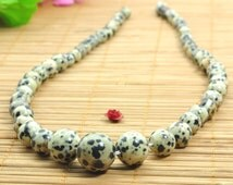 16.5 inches of Dalmatian obsidian smooth round tower necklace,DIY handmade wholesale beads in 6-14mm