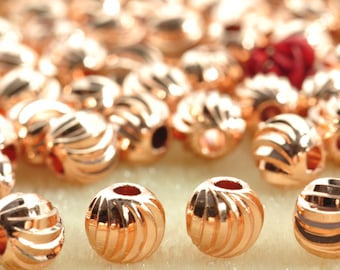50 pcs of  Rose Gold plated bead,smooth bead,  Ribbed round bead,Copper Spacer beads  in 5mm