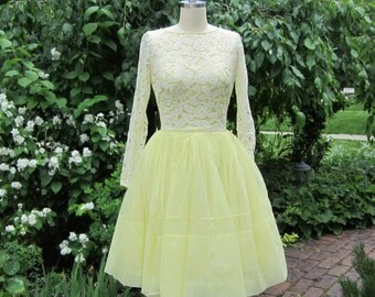 50's Lemon Chiffon and Lace Dress