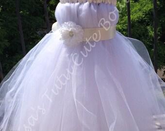 Full length flower girl dress. Baptism dress. Birthday dress.